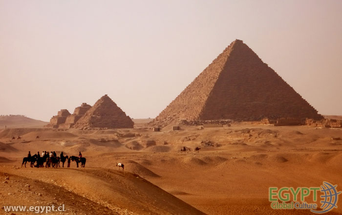 Egyptian Pyramids at Dusk
